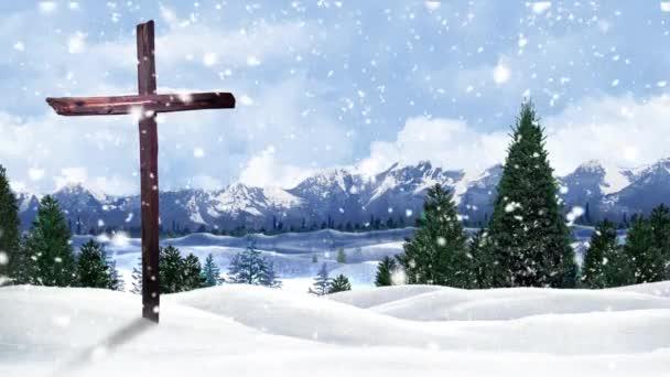 Winter Mountain Cross Background Loop