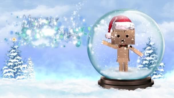 Lepenkové postava v Snow Globe Veselé Vánoce