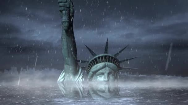 Statue of Liberty Submerged in a Rain Storm Loop