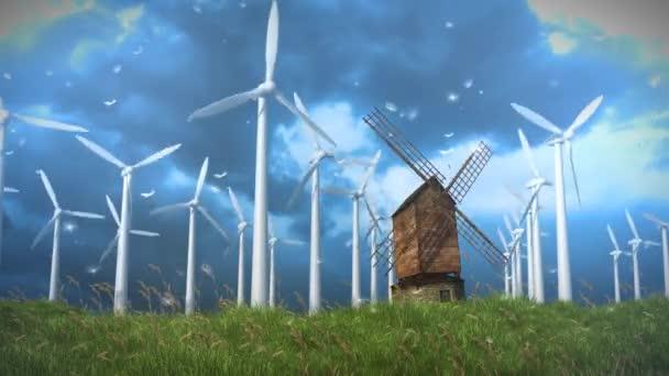 Modern szélmalmok ellipszis a régi 4k hurok