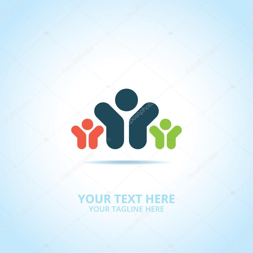 Abstract Partnership Logo Design Concept Emblem Icon Flat