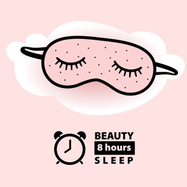 Mask  for sleeping  with eyelashes on a pink (rose color) background/ Rose Quartz  background stock vector
