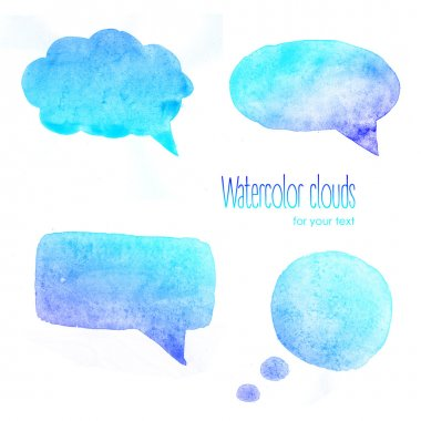 Watercolor  blue clouds for text / Watercolor backgrounds for text