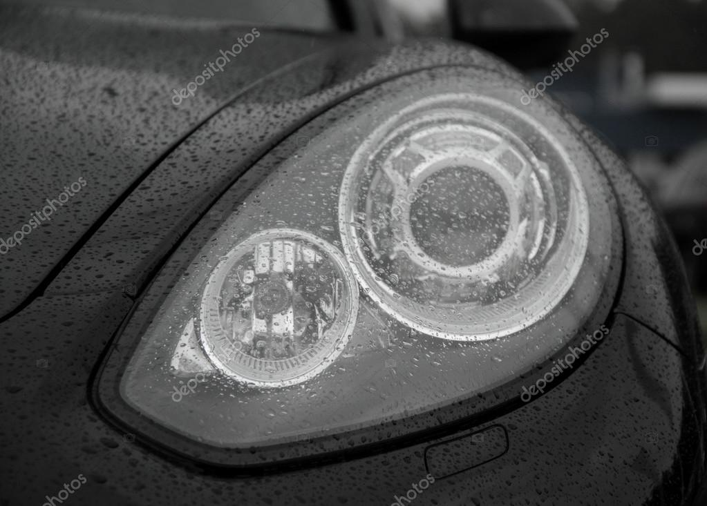 Rain Drops On Car Headlights After Water Protection Repellent