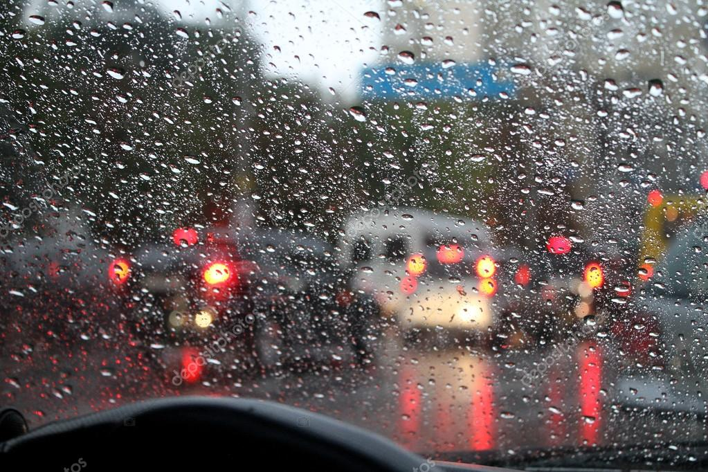 Look on the water drops on car windshield from inside the