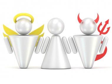 Temptation concept. Woman, angel and devil figures. 3D