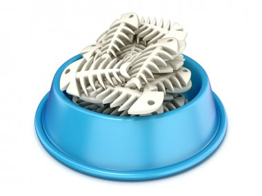 Blue cat bowl with fish bones, 3D