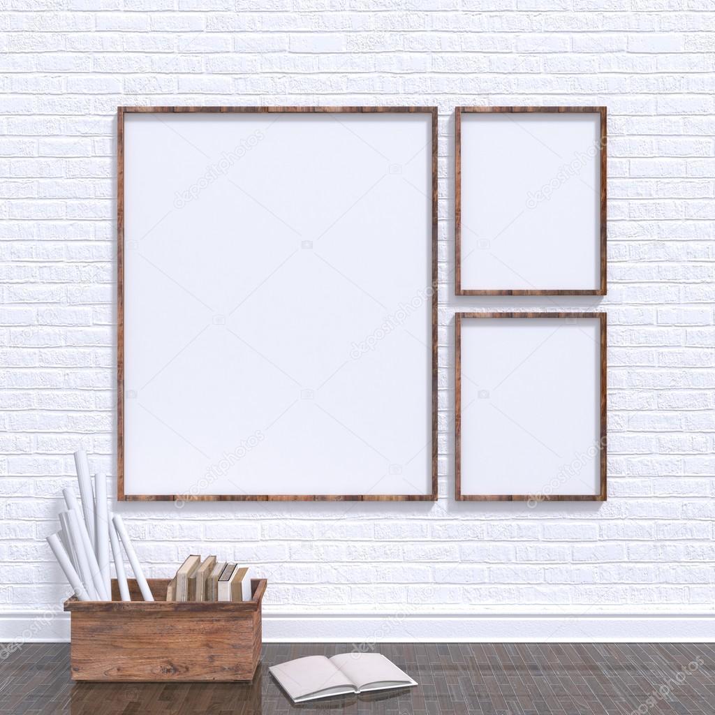 Mock up marcos de carteles en el taller de arte con el arco de ...