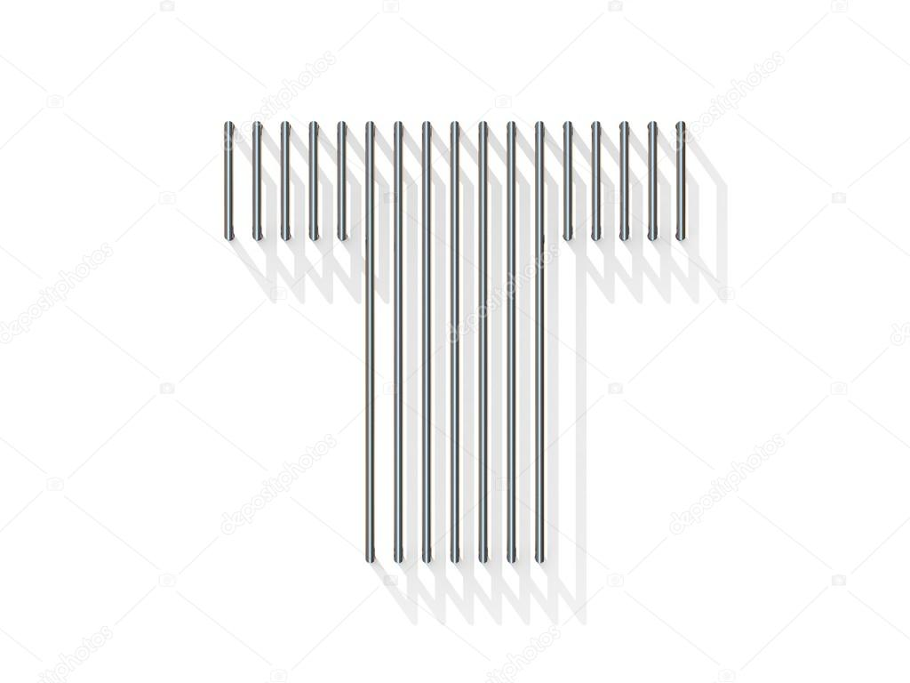 Silver, steel wire font. Letter T — Stock Photo © djmilic #122824410