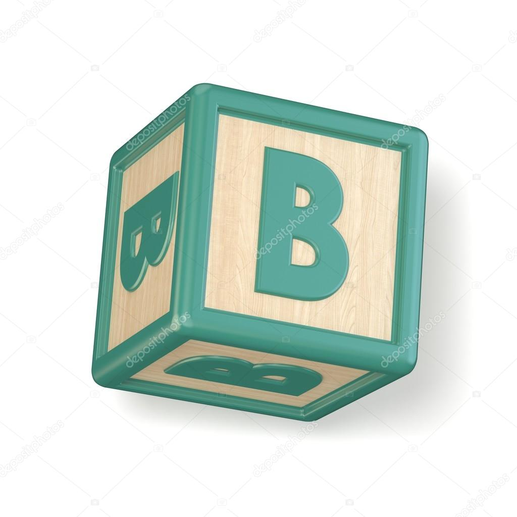 Letter B Wooden Alphabet Blocks Font Rotated 3d Stock Photo