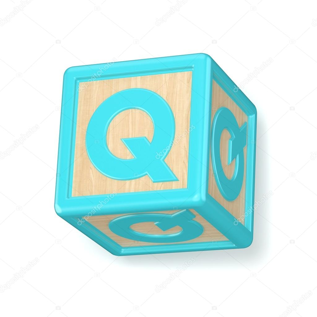 Letter Q Wooden Alphabet Blocks Font Rotated 3d Stock Photo