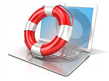 Laptop with lifebuoy. 3D rendering - concept of computer, online help and safety internet surfing