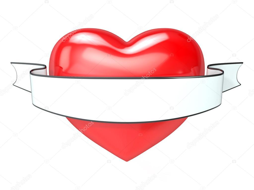 Coeur Rouge Et Blanc Ruban En Ilration De Rendu Isolée Sur Image Djmilic
