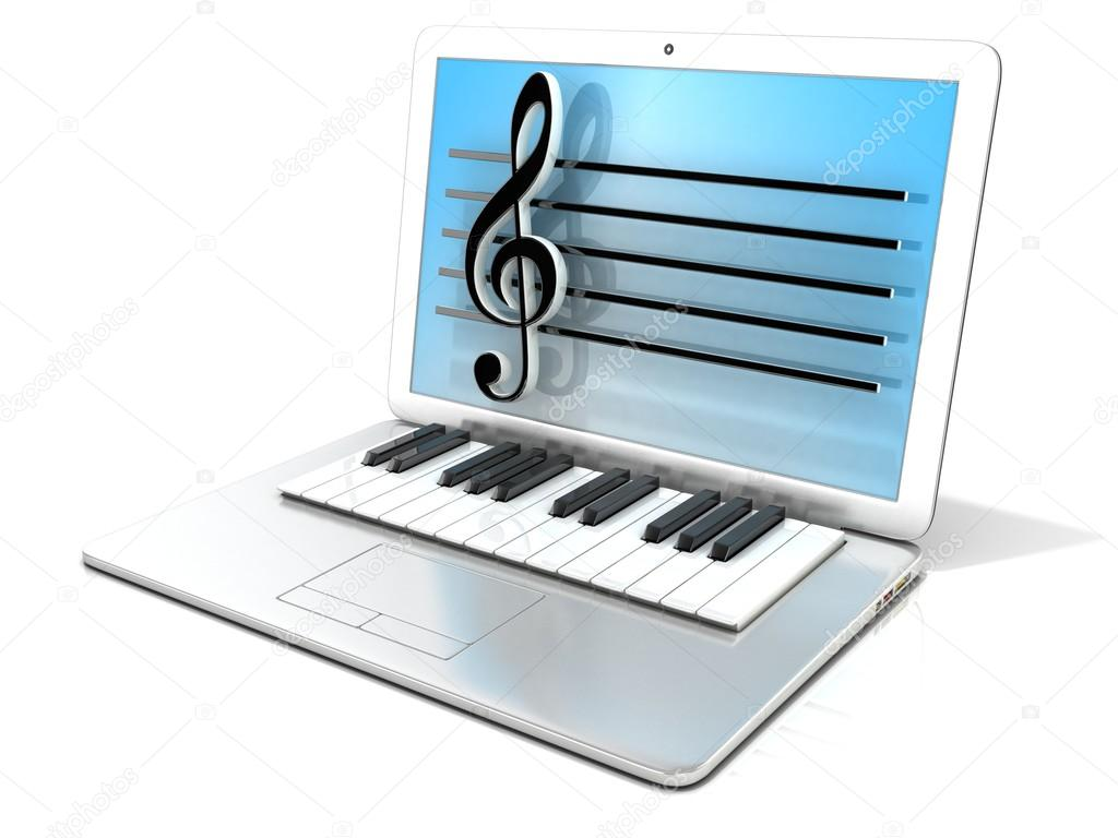 Laptop with piano keyboard. 3D rendering - concept of computer, digitally generated music