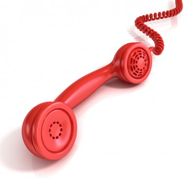 Red telephone handset, retro illustration for design, isolated on white background, incoming call