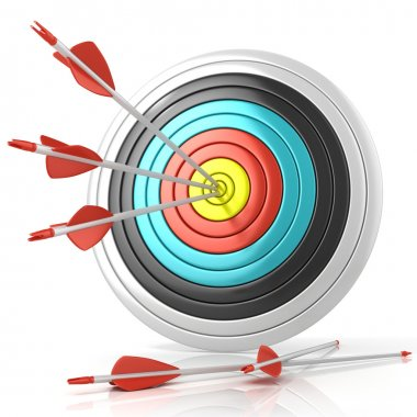 Archery target with red arrows in the center, isolated on white background. Front view