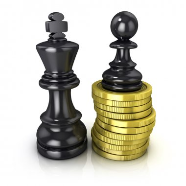 Black pawn standing on coins and black king, placed in the same plane, isolated on white background