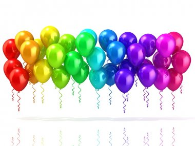 Colorful party balloons row, isolated on white