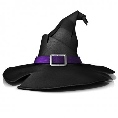 Halloween, witch hat. Black hat with purple belt. Isolated on white background