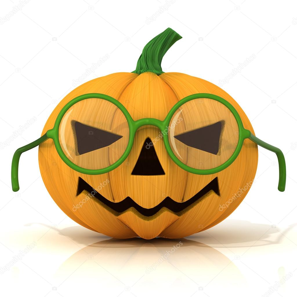 Funny Jack O Lantern. Halloween pumpkin with green glasses, isolated on white. Front