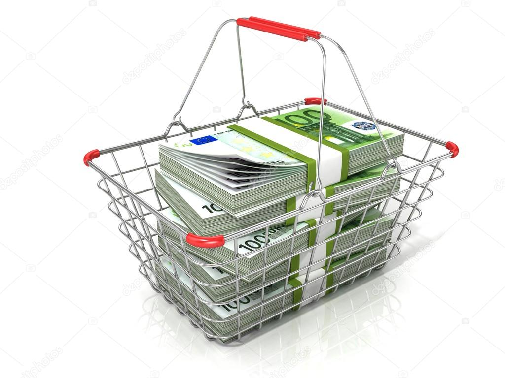 Steel wire shopping basket full of euros stacks. Isolated on a white ...