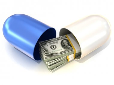 Opened blue pill capsule, with dollars stack inside. Isolated on white background