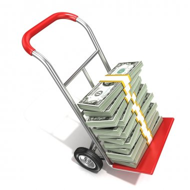Hand truck with stacks of hundreds dollars isolated on white background. 3D render illustration