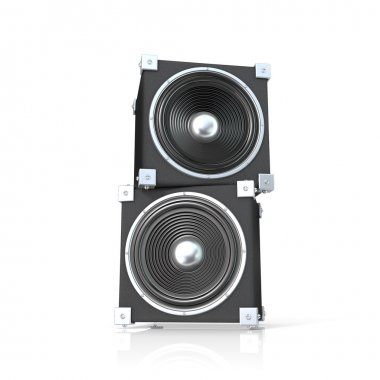 Pair of sound speakers. 3D render illustration isolated on white background. Front view