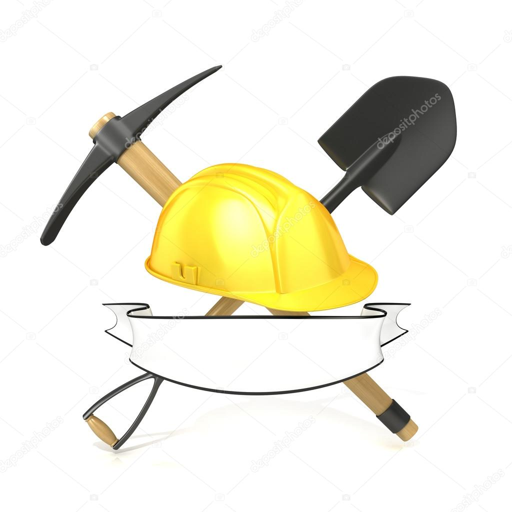 Mining tools, shovel, pickaxe and safety helmet, with blank white ribbon