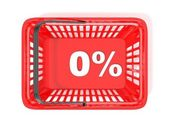 Photo 0 percent discount tag in red shopping basket