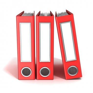 Row of binders, red office folders