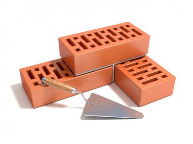 Concept of building the brick wall, made of bricks with rectangular hole