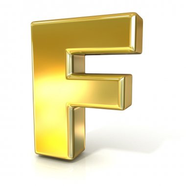 Golden font collection letter - F. 3D render illustration, isolated on white background.