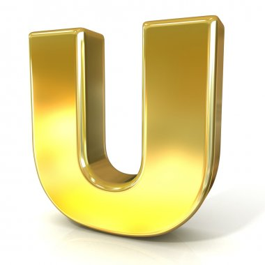 Golden font collection letter - U. 3D render illustration, isolated on white background.