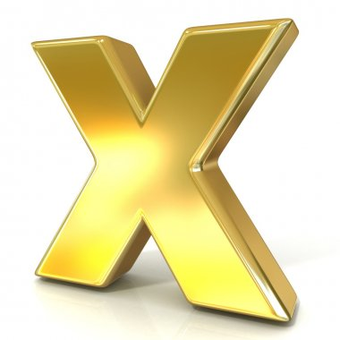 Golden font collection letter - X. 3D render illustration, isolated on white background.