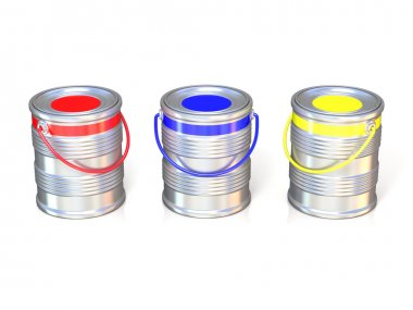 Metal tin cans with basic colors (red, blue and green) paint. Isolated on white background