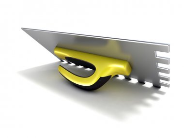 Finishing trowel with yellow black rubber handle