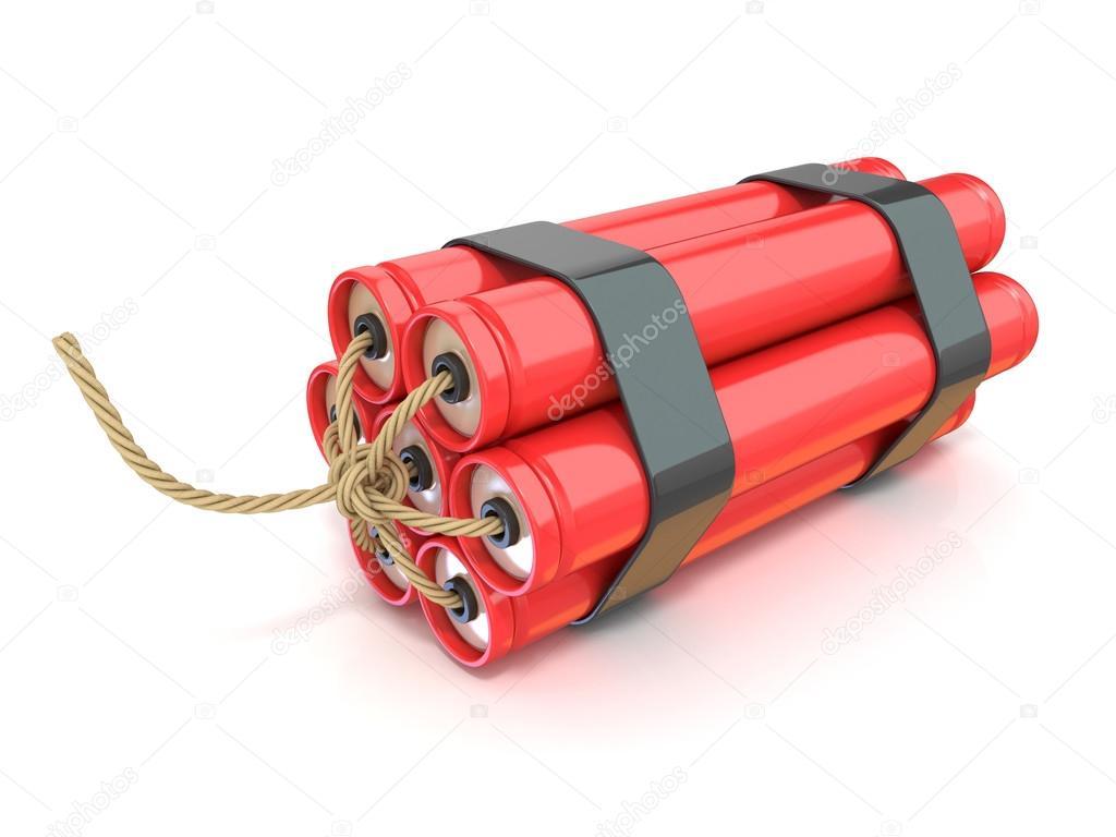 Red dynamite sticks - TNT with wick — Stock Photo ...