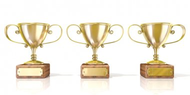 Three golden cup trophies