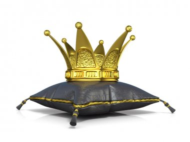 Royal black leather pillow and golden crown