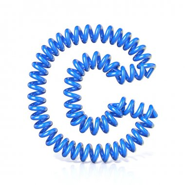 Spring, spiral cable font collection letter - C. 3D