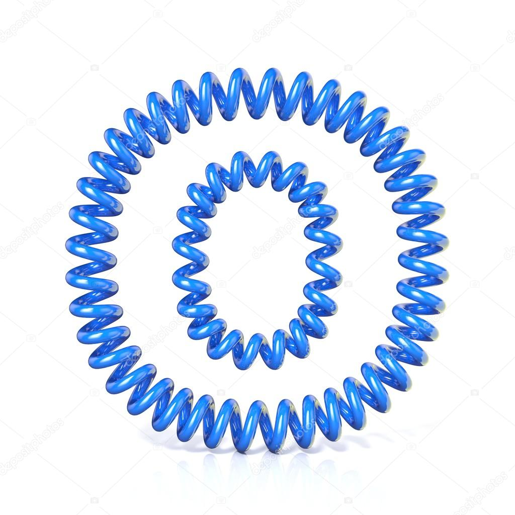 Spring, spiral cable font collection letter - O. 3D