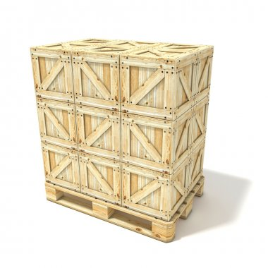 Wooden boxes on euro pallet. 3D render