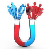 Menschen Magnet, der zwei verschieden farbige Menschen Formen anzieht. Attraktionskonzept. 3D-Darstellung
