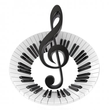 Treble clef in abstract piano keyboard. Symbol of music. 3D render