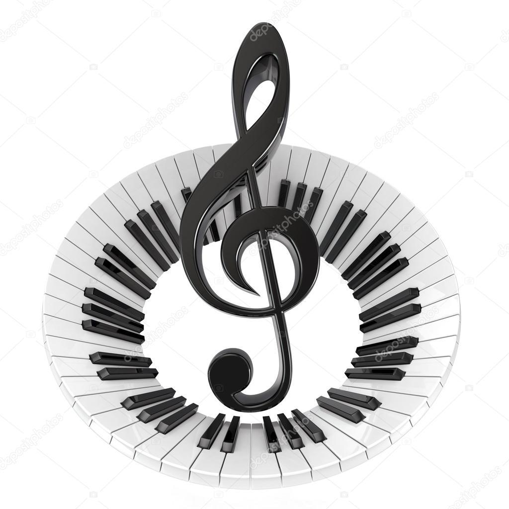 Chiave Di Violino In Tastiera Di Piano Astratta Simbolo Della