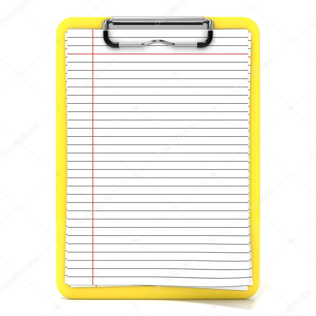 yellow clipboard and blank paper with lines 3d render stock photo
