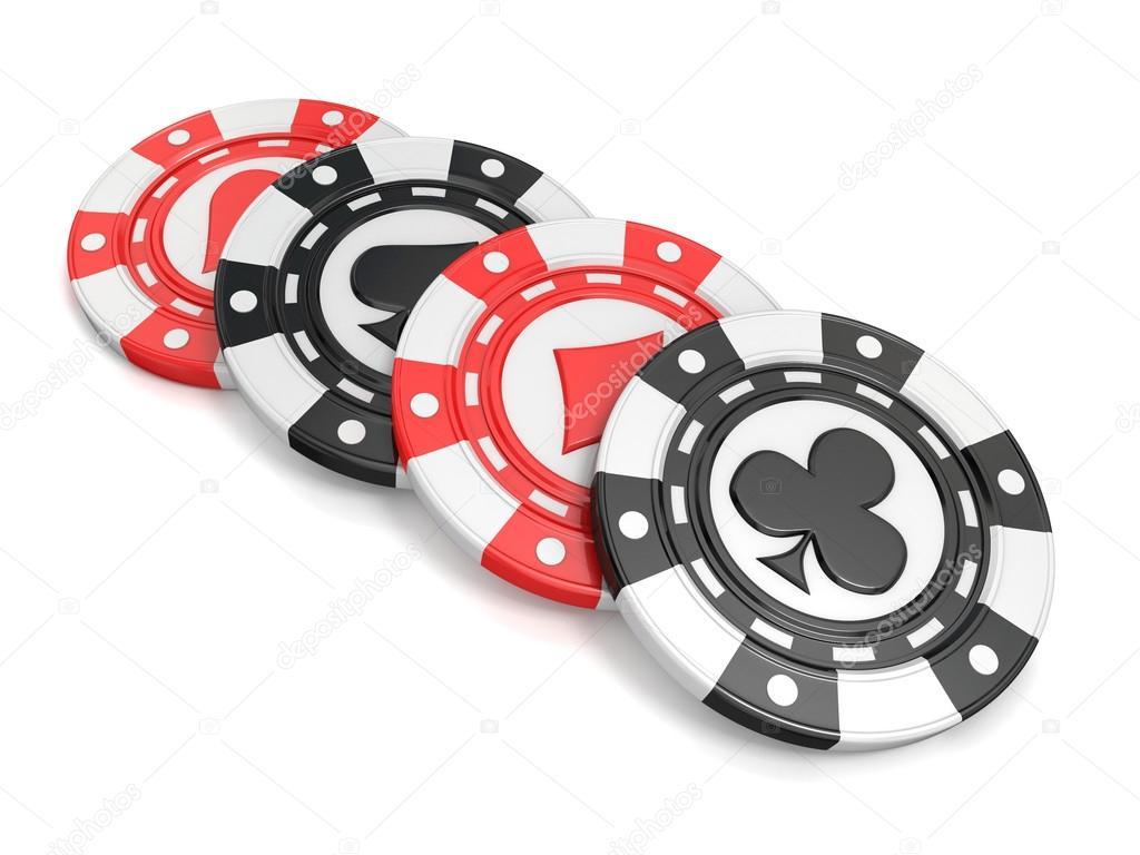 Jetons De Casino Avec La Bêche Diamant Coeur Et Club à Ce Sujet