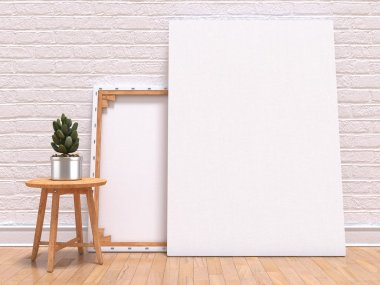 Mock up canvas frame with plant, floor and wall. 3D render