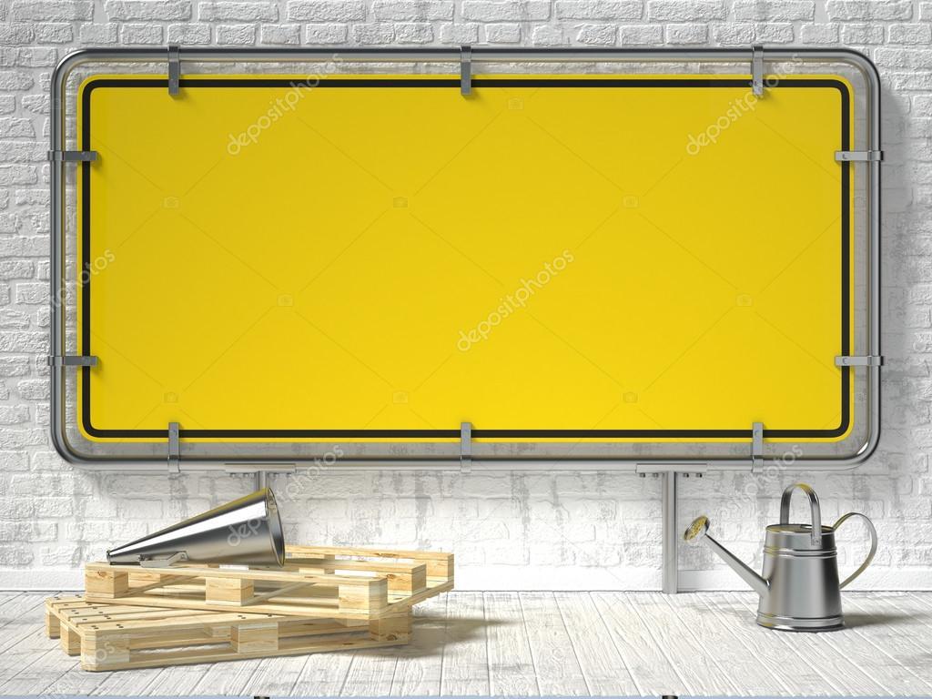 Poster mit leeren gerahmte Warnschild Modell. 3D — Stockfoto ...
